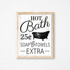 Bathroom Sign. Hot Bath Sign. Bathroom Decor. Bathroom Wall