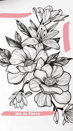 Flowers drawing design pattern tattoo ideas 16 Ideas for 2019 Rose Tattoos, Flower Tattoos, Black Tattoos, Tattoo Roses, Tattoo Floral, Flower Outline Tattoo, Lotus Tattoo, Flower Tattoo Designs, Flower Designs