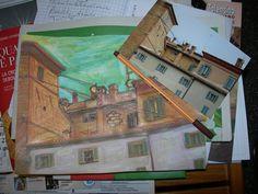 I tetti di Camerino in un giorno di pioggia... in via di realizzazione al corso di pittura...