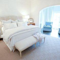 Monogrammed Pillows Design - 3 euros in kaki linen piped in white, front white pillows monogrammed in kaki, white coverlet and duvet cover