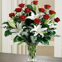 Red Roses and Casablanca Lily Arrangement