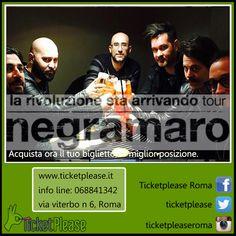 """Ticket   """" NEGRAMARO """" , PALALOTTOMATICA, ROMA. 26/11/2015. www.ticketplease.it  info line: 068841342  Vieni a trovarci presso """" TICKETPLEASE"""" via Viterbo n.6, Roma. L'atteso ritorno live dei negramaro  """"La rivoluzione sta arrivando Tour""""! @Negramaro  @Negramaropeople  @Negramaro_Promo  #Negramaro"""