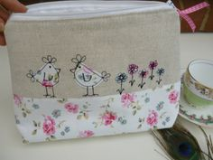 Large Handmade Cosmetic Bag Washbag Cath Kidston Cut Rose Hens waterproof lining | eBay