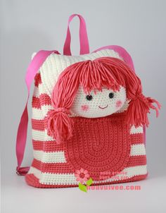 18 Ideas Crochet Purse And Bags For Girls Crochet Girls, Cute Crochet, Crochet For Kids, Crochet Crafts, Crochet Toys, Crochet Baby, Crochet Projects, Crochet Handbags, Crochet Purses