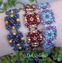 Granny Square Bracelet & Earrings beaded pattern tutorial by