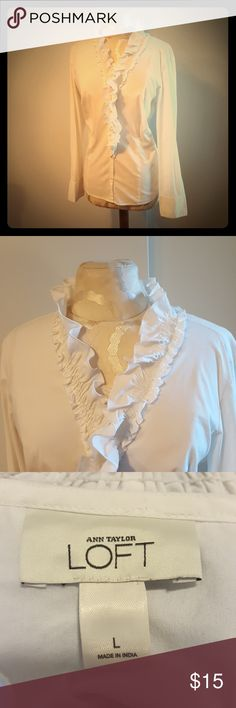 LOFT white ruffle dress shirt White dress shirt with ruffled hem by LOFT. In great condition! LOFT Tops Button Down Shirts