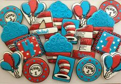 Dr. Seuss cookies - no source , thing one two, number, Cat in the Hat, red, blue, white, shape, balloons