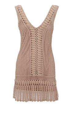 Crochet lace dress by Karen Millen. Crochet Summer Dresses, Crochet Skirts, Crochet Blouse, Crochet Clothes, Crochet Lace, Crochet Stitches, Crochet Designs, Crochet Patterns, Mode Crochet
