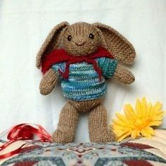 Who could resist a knitting pattern for an Easter bunny wearing a sweater?  Certainly not me!  Knit this little guy up for your next Easter celebration.