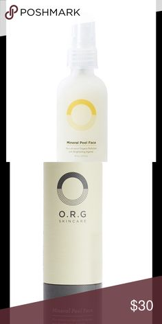 O.R.G Skincare Mineral Peel Face Want smoother softer more radiant skin? Use this all natural enzyme exfoliant with brightening agents that extract dermal debris and dead skin in seconds.. Spray on, massage it off, and get ready to glow. O.R.G. Skincare Makeup