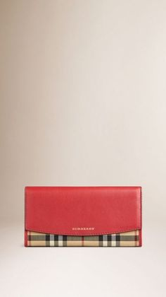 Horseferry Check and Leather Continental Wallet  Black leather instead of red