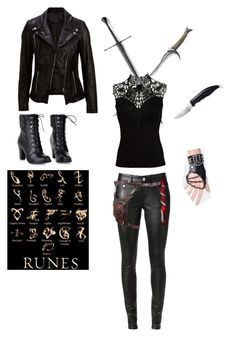 """""""Shadow hunter Gear (TMI)"""" by mikrockerchick ❤ liked on Polyvore featuring Lipsy, SELECTED, Yves Saint Laurent and Holster"""