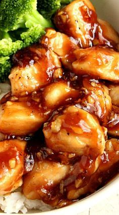 Quick Teriyaki Chicken Rice Bowls ~ Better than takeout and made with just a few ingredients... Sweet, garlicky chicken served with rice and steamed broccoli comes together in just 20 minutes.