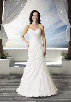 Brand: Roz la Kelin Bridal Style: Aria Style Code: Soft slim strapless gown with deep V back neckline. Fabrics: 7347 Soft Satin/ Organza Colors available: White / White Ivory / Ivory Back Opening Options: Zipper Lace-Up Wedding Dress Pictures, Stunning Wedding Dresses, Perfect Wedding Dress, One Shoulder Wedding Dress, Bridal Gowns, Wedding Gowns, Aria Style, Gown Photos, Wedding Ties
