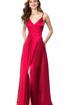(This is an affiliate pin) Valiamcep Womens Strap V Neck Prom Dresses Homecoming Long 2019 Satin Evening Ball Gowns with Pocket