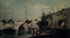 Francesco Guardi, Město s mostem, kol. 1750