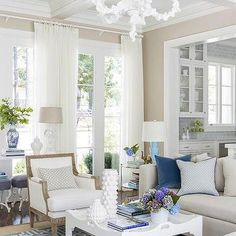 Coral Chandelier, Transitional, living room