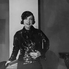 A 1930s woman sporting a glimmering sequin covered jacket and matching hat. #vintage #fashion #1930s #hat