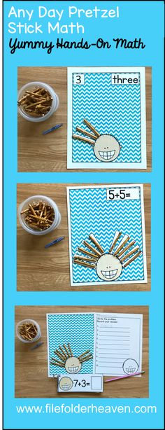 These Any Day Math Activities: Counting Pretzel Sticks offer students a fun and hands-on way to practice basic counting, one:one correspondence, modeling addition problems, and simple addition using pretzel sticks. You can also a set of tweezers or small tongs to your center to mix in some fine motor skills practice!