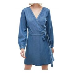 Women's Fashion Faux Wrap Belted Denim Dress ($27) ❤ liked on Polyvore featuring dresses, blue, long sleeve denim dress, long sleeve faux wrap dress, longsleeve dress, denim dress and blue long sleeve dress