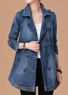 Long Sleeve Notch Collar Button Embellished Denim Coat | Rosewe.com - USD $41.99