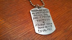 Hand stamped personalized dog tag men's by ByalittlebitofFaith, $20.00