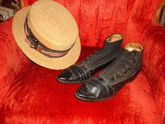 Edwardian Incredible pair of Edwardian mens leather shoes....high button....a style populaur from 1910-12... Straw boater hat......popular 1900-1925