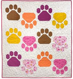 Quilt Kit Caturday Pretty Paws 56in x 62in - Quilt Kit, 100% Cotton