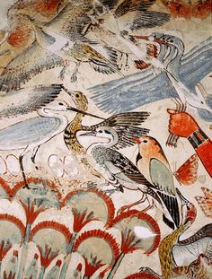 Nebamun hunting in the papyrus marshes, detail, fragment of a wall painting. Now in the British Museum. Egypt Animals, Minoan Art, Kemet Egypt, Luxor Egypt, Egypt Museum, Ancient Egypt Art, Egyptian Art, Egyptian Tattoo, Egyptian Mythology