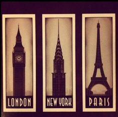 london. ny. paris. this would be cool to do on canvases decoupaged in vintage maps of each city...