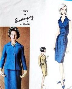 1960s RODRIGUEZ Day or Cocktail Slim Dress and Jacket Pattern VOGUE COUTURIER DESIGN 1379 Classy Double Breasted Bodice Bust 36 Vintage Sewing Pattern Dress Making Patterns, Vintage Dress Patterns, Vintage Dresses, Vogue Paris, Vogue Patterns, Jacket Pattern, Little Dresses, Pattern Fashion, Double Breasted