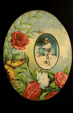 Vintage roses with butterfly frame