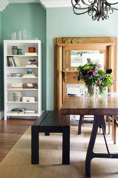 Behr Zen green wall color in the dining room with dining benches via Beige Wall Colors, Green Wall Color, Paint Colors, Green Dining Room, Mint Walls, Diy Home, Home Decor, Mid Century Dining, Room Planning