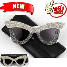 500c0ae3b1d5 Oversize Frame With Rhinestone Women Sun Glass Cat Eye UV400 Gradient  Lenses New  fashion  . Sunglasses ...
