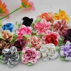 Aliexpress.com : Buy 150pcs 2tone Satin Ribbon Flowers Bows Appliques Craft Wedding U pick B047 from Reliable flower granite suppliers on Loverstore