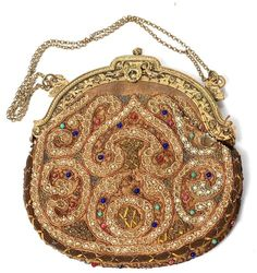1920'S SPINGARN'S PARIS BEADED AND EMBROIDERED PURSE WITH GILT FRAME