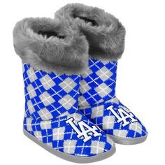 Los Angeles Dodgers Women's Argyle Faux Fur Boot by Forever Collectibles