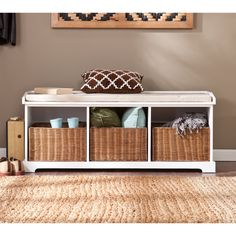 Winsome Granville Storage Bench with 3 Foldable Baskets - Indoor ...