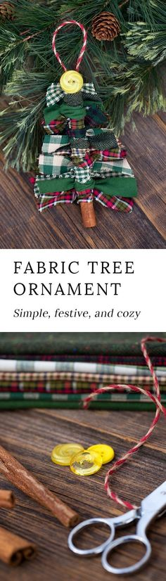 Just in time for Christmas, learn how to make Scrap Fabric Tree Ornaments from fabric remnants, cinnamon sticks, and buttons. #christmasornaments #christmas #christmascrafts #christmastreeornaments via @https://www.pinterest.com/fireflymudpie/