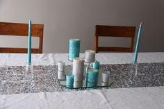 Christmas. Sequin table runner (DIY) with glitter candles and candle holders (DIY).