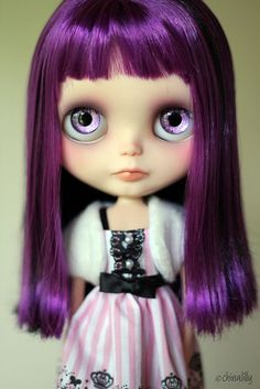 Purple hair and #Purple eyes: elegant #Blythe #doll. Description from pinterest.com. I searched for this on bing.com/images