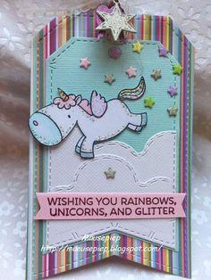 Handmade Tags, Handmade Birthday Cards, Cute Cards, Diy Cards, Unicorn Cards, Sweet Stamp Shop, Rainbow Card, Mft Stamps, Cricut Cards