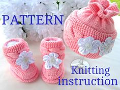 Baby P A T T E R N Stricken Baby Set Babyschuhe Strickmütze Muster Baby Booties Baby Boy Baby Girl Muster (PDF-Datei) - Botitas bebe - dekoration Baby Hats Knitting, Baby Knitting Patterns, Knitted Hats, Baby Set, 2 Baby, Knitted Baby Outfits, Baby Girl Patterns, Baby Cardigan, Baby Booties