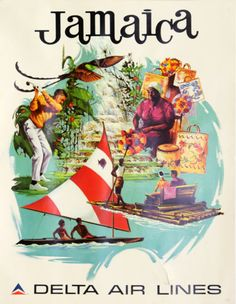 Jamaica by Delta Airlines Tourism Poster 1974 - http://retrographik.com/jamaica-by-delta-airlines-tourism-poster-1974/ - airlines, airplane, classic, high resolution, Jamaica, old, poster, retro, tourism, transportation, travel, vintage