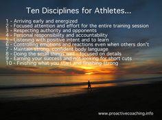 Ten disciplines for athletes