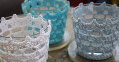 Crochet Pattern for IKEA Votives (in Swedish) Crochet Decoration, Crochet Home Decor, Diy Candels, Crochet Jar Covers, Fabric Christmas Ornaments, Crochet Bowl, Crochet Embellishments, Candle Craft, Crochet Dishcloths
