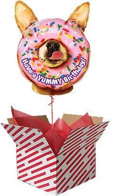 Yummy Birthday Balloon Delivered #birthday #balloons #doughnut #dog Gifts For 18th Birthday, 21st Birthday, 60th Birthday Balloons, Helium Balloons, Animal Birthday, Novelty Gifts, Doughnut, First Birthdays, 30th