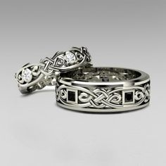 925 Sterling Silver Cletic Couple Rings for His and Her