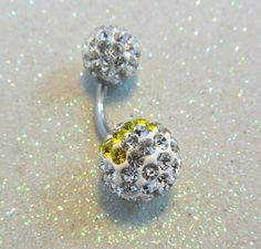 Belly button ring with 6 - 10mm yellow and clear crystals 14ga  | YOUniqueDZigns - Jewelry on ArtFire