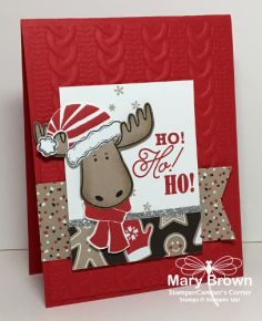 Stampin' Up! Jolly Friends and Greetings from Santa handmade Christmas Card - Mary Brown